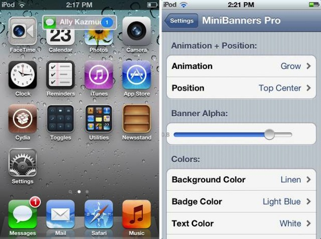 MiniBanners Improves iOS Notifications