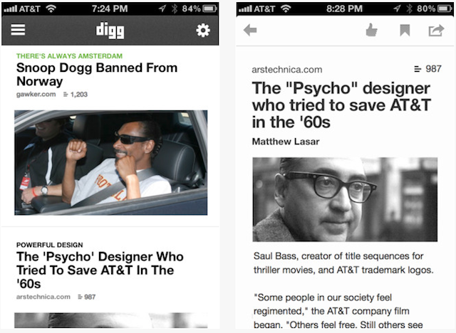 Digg Site Now Completely Redesigned Alongside New App For iOS