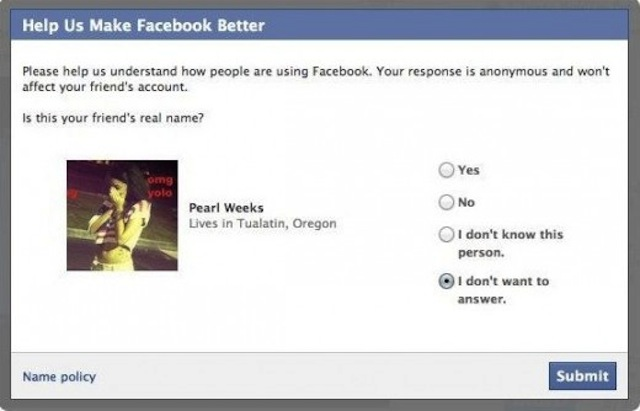 Facebook Starts Their Assault On Faux Names