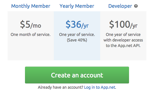 App.net Introduces New Pricing, Monthly Plans