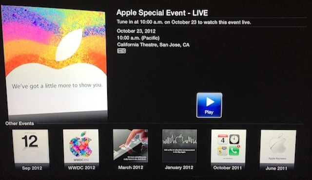 Apple Adds New Icon To Apple TV To Live Stream iPad Mini Event